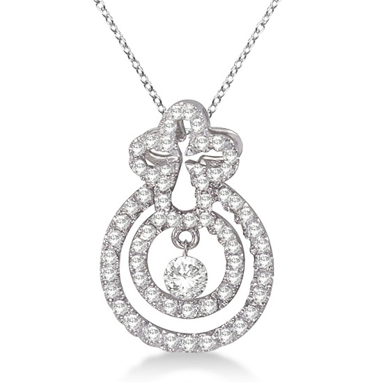 Unique Circle Shaped Diamond Pendant Necklace 14k White Gold (0.25ct)