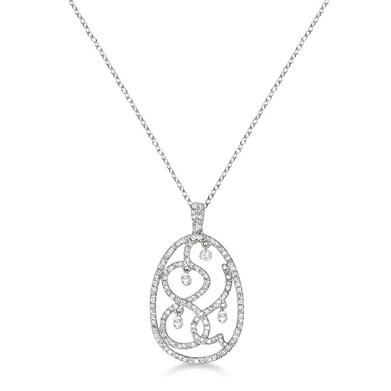 Drilled Set Oval Diamond Pendant Necklace 14k White Gold (0.70ct)