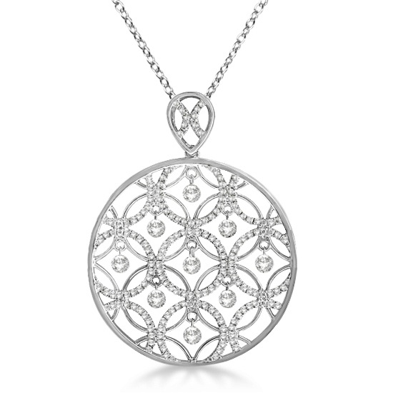 Drilled Set Diamond Circle Pendant Necklace 14k White Gold (1.25ct)