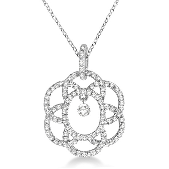 Overlapping Circle Diamond Pendant Necklace 14k White Gold (0.40ct)