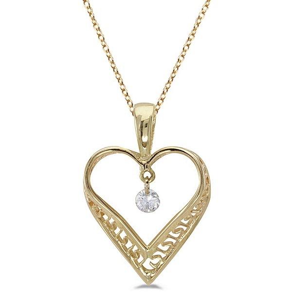 Dashing Diamonds Open Heart Diamond Pendant Necklace 14k Yellow Gold