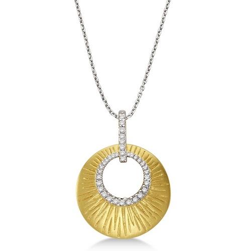 Diamond Shell Pendant Necklace Satin Finish 14k Yellow Gold (0.10ct)