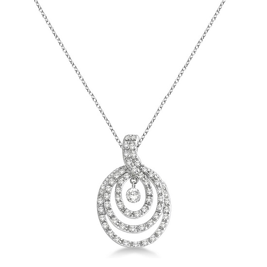 Triple Circle Diamond Pendant Necklace 14k White Gold (0.35ct)