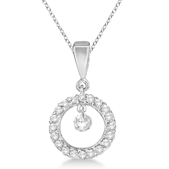 Drilled Set Circle Diamond Pendant Necklace 14k White Gold (0.25ct)