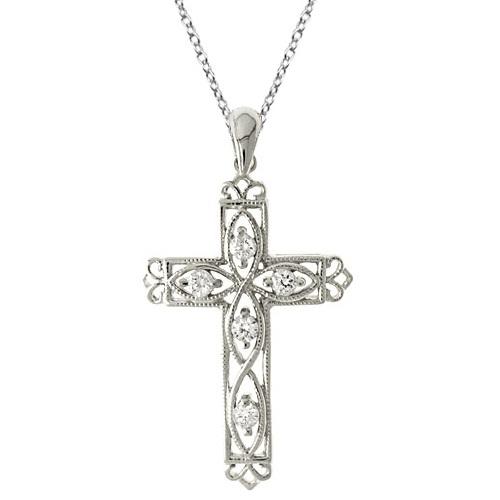 Diamond Filigree Cross Pendant Necklace 14k White Gold (0.25ct)