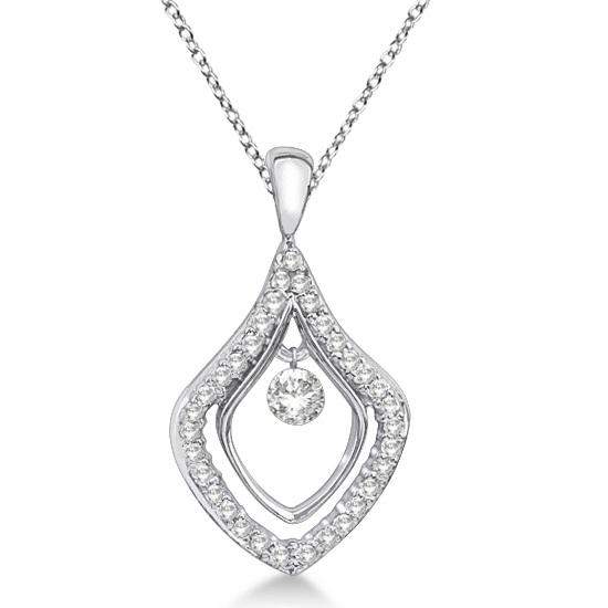 Unique Shaped Diamond Pendant Necklace 14k White Gold (0.30ct)