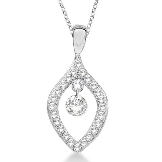 Unique Shaped Diamond Pendant Necklace 14k White Gold (0.20ct)