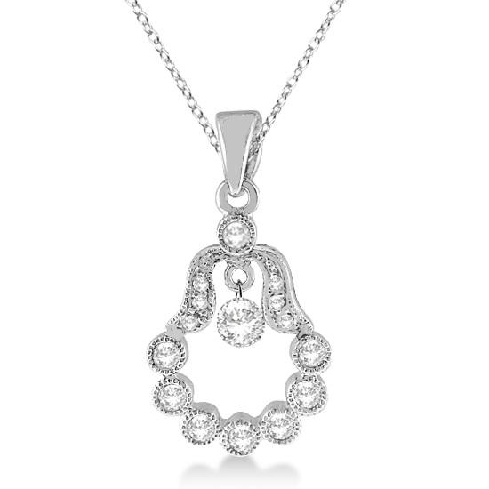 Hamsa Hand Shaped Diamond Pendant Necklace 14k White Gold (0.30ct)