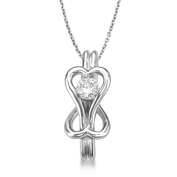 Diamond Love Knot Pendant Necklace in 14k White Gold (0.25ct)
