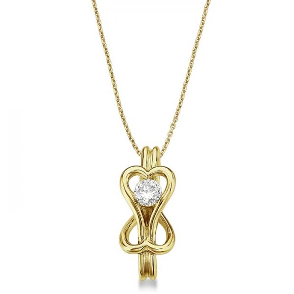 Diamond Love Knot Pendant Necklace in 14k Yellow Gold (0.25ct)