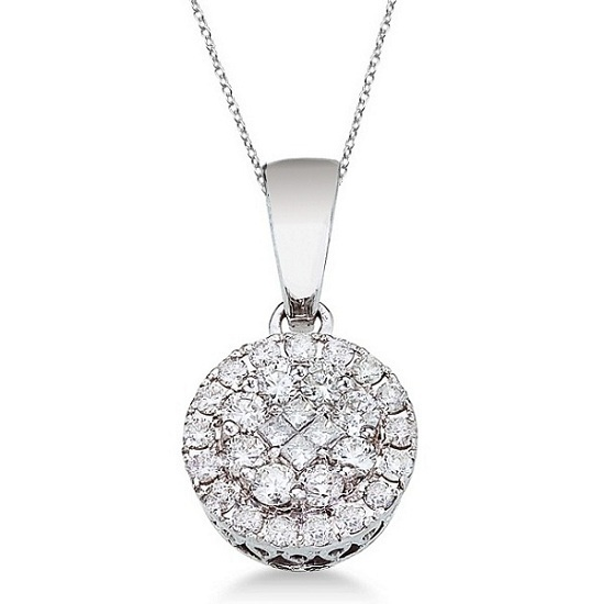 Round & Princess Diamond Cluster Pendant 14k White Gold (0.50ct)
