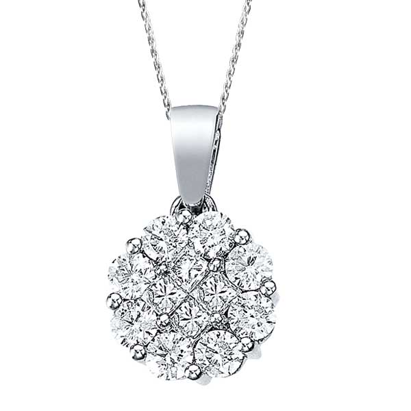 1.00 ct Diamond Clusters Flower Pendant Necklace in 14k White Gold