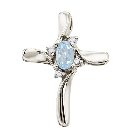 Aquamarine and Diamond Cross Necklace Pendant 14k White Gold