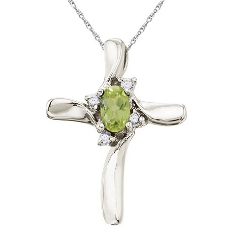 Peridot and Diamond Cross Necklace Pendant 14k White Gold
