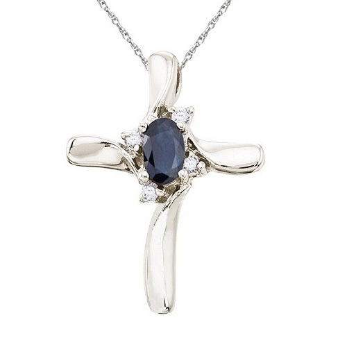 Blue Sapphire and Diamond Cross Necklace Pendant 14k White Gold