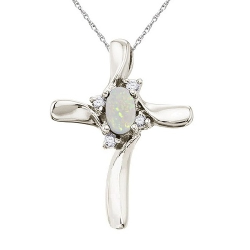 Opal and Diamond Cross Necklace Pendant 14k White Gold