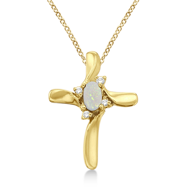 Opal and Diamond Cross Necklace Pendant 14k Yellow Gold