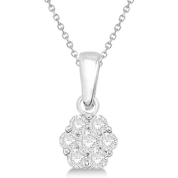 Diamond Cluster Flower Pendant Necklace Set in 14k White Gold (0.50ct)