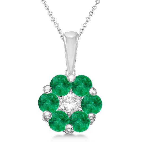 Flower Diamond & Emerald Pendant Necklace 14k White Gold (0.92ct)