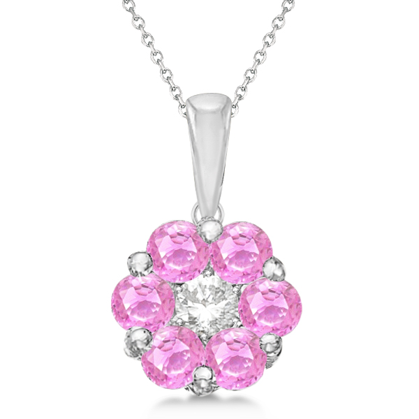 Flower Diamond & Pink Sapphire Pendant Necklace 14k White Gold (1.40ct)