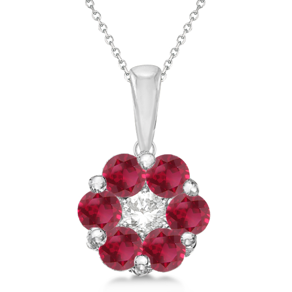 Cluster Flower Diamond & Ruby Pendant Necklace 14k White Gold (1.40ct)