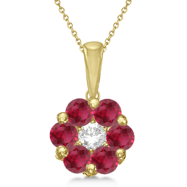 Cluster Flower Diamond & Ruby Pendant Necklace 14k Yellow Gold (1.40ct)
