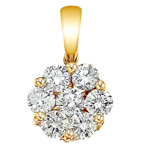 Diamond Cluster Flower Pendant Necklace in 14k Yello Gold 1.00ct