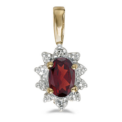 Oval Garnet & Diamond Flower Shaped Pendant Necklace 14k Yellow Gold