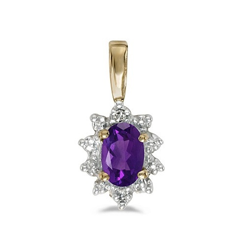Oval Amethyst & Diamond Flower Shaped Pendant Necklace 14k Yellow Gold