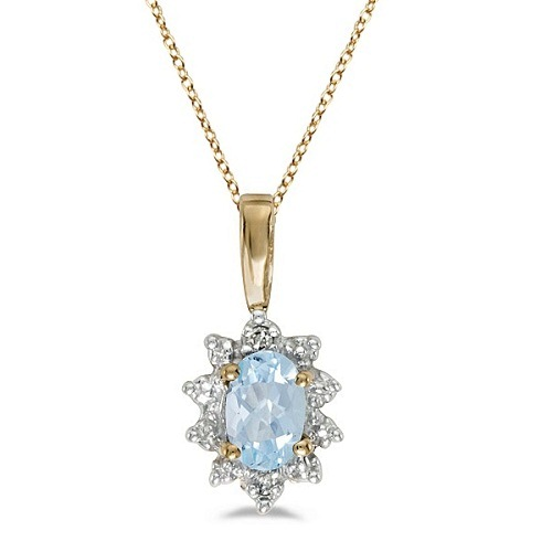 Aquamarine & Diamond Flower Shaped Pendant Necklace 14k Yellow Gold