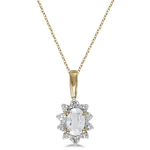 Oval White Topaz & Diamond Flower Pendant Necklace 14k Yellow Gold