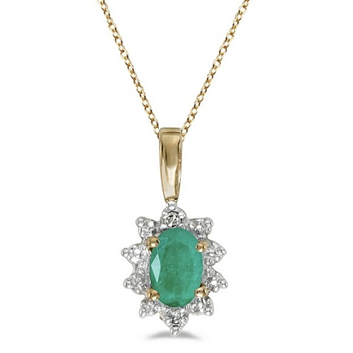 Oval Emerald & Diamond Flower Shaped Pendant Necklace 14k Yellow Gold