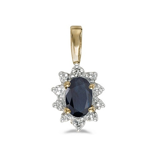 Blue Sapphire & Diamond Flower Shaped Pendant Necklace 14k Yellow Gold