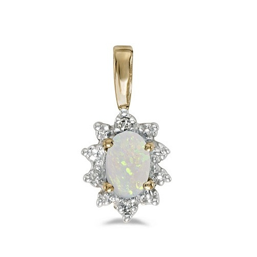 Oval Opal & Diamond Flower Shaped Pendant Necklace 14k Yellow Gold