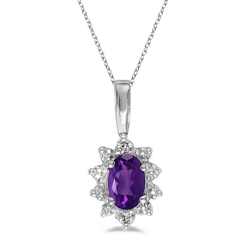 Oval Amethyst & Diamond Flower Shaped Pendant Necklace 14k White Gold