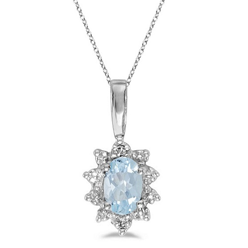Aquamarine & Diamond Flower Shaped Pendant Necklace 14k White Gold