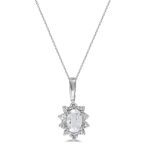 Oval White Topaz & Diamond Flower Shaped Pendant Necklace 14k W Gold