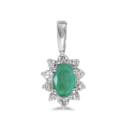 Oval Emerald & Diamond Flower Shaped Pendant Necklace 14k White Gold