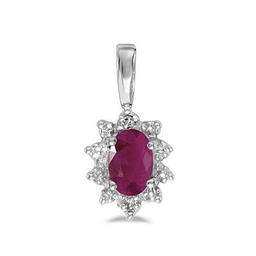Oval Ruby & Diamond Flower Shaped Pendant Necklace 14k White Gold
