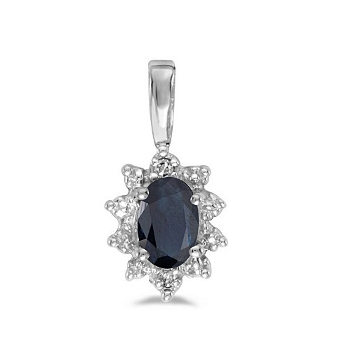 Blue Sapphire & Diamond Flower Shaped Pendant Necklace 14k White Gold