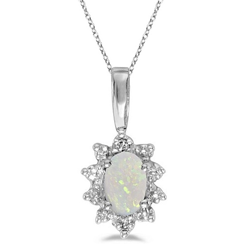 Oval Opal & Diamond Flower Shaped Pendant Necklace 14k White Gold