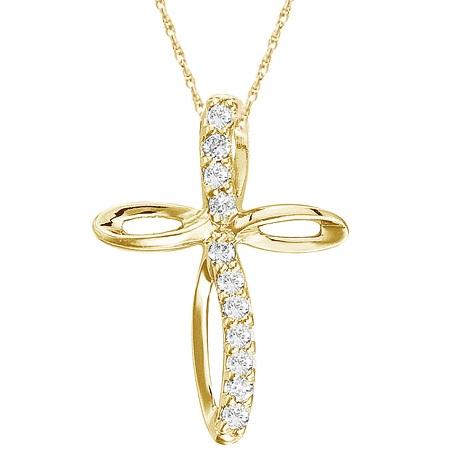 Swirl Diamond Cross Pendant Necklace in 14k Yellow Gold (0.10ct)