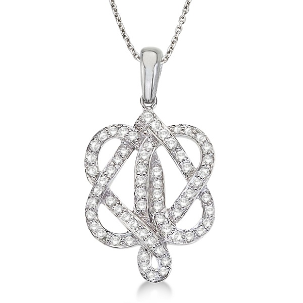 Diamond Double Heart Love Knot Pendant Necklace 14k White Gold (0.40ct)