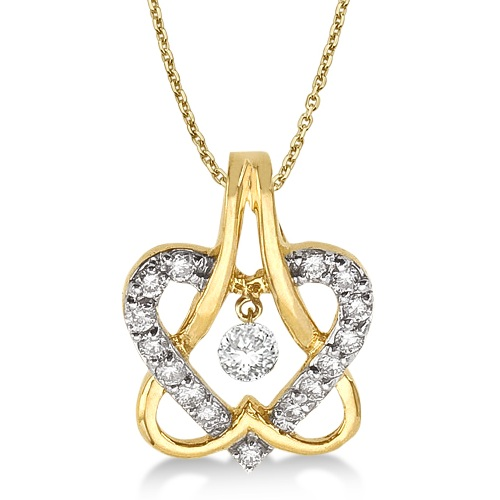 Diamond Double Heart Pendant Necklace 14k Yellow Gold (0.30ct)