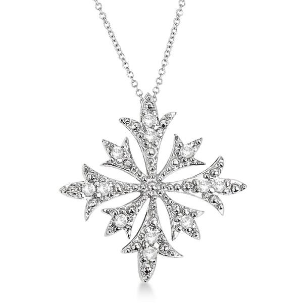 Snowflake Shaped Diamond Pendant Necklace 14k White Gold (0.10ct)