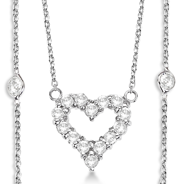 Diamonds By The Yard Heart Pendant Necklace 14k White Gold (1.00ct)
