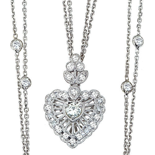 Diamonds By The Yard Heart Pendant Necklace 14k White Gold (1.30ct)