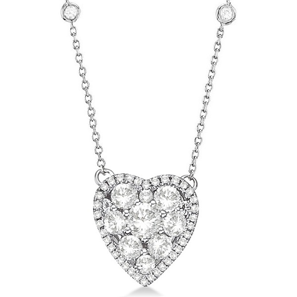Diamonds By The Yard Heart Pendant Necklace 14k White Gold (1.20ct)