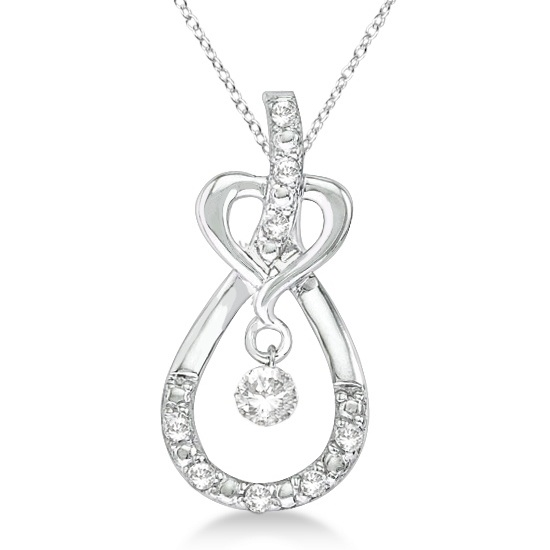 Heart Knot Teardrop Diamond Pendant Necklace 14k White Gold (0.20ct)