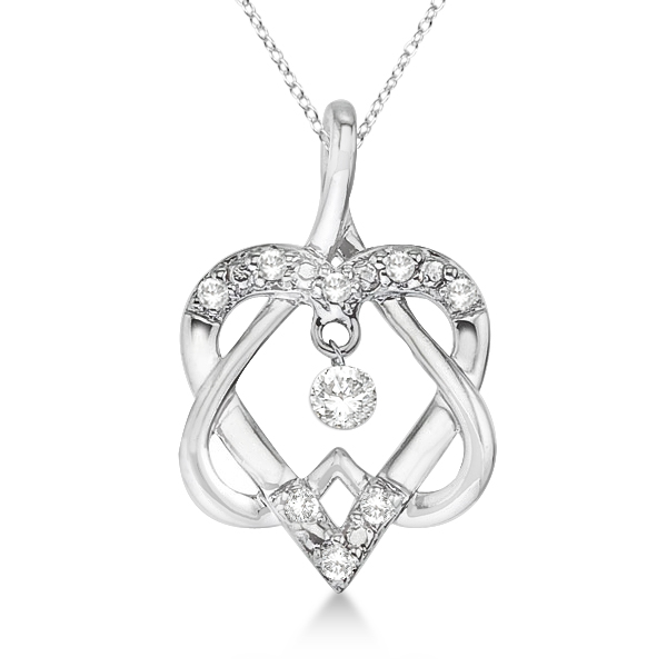 Double Heart Diamond Swirl Pendant Necklace 14k White Gold (0.20ct)